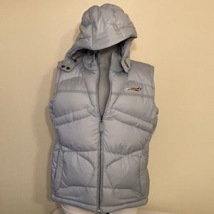 Bonfire size L light blue puffer vest /pockets